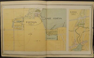 Wisconsin Walworth County Map Fontana Lyons 1907 2-Double Pages J23#13