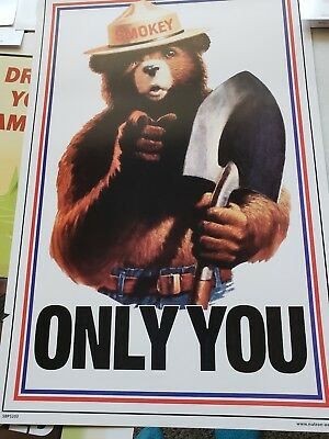 Smokey Bear ONLY YOU  CLASSIC POSTER . Free ship***