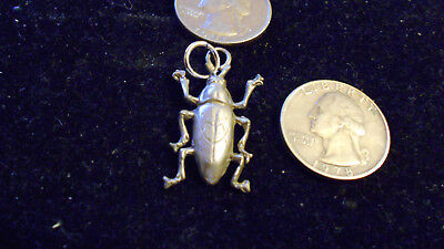 bling pewter egypt scarab bug LEGEND myth beetle Charm Pendant Necklace JEWELRY