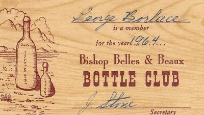 Rare First Membership 1964 Card Bishop Belles & Beaux Bottle Club Inyo Co Ca