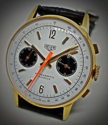 Heuer Chronograph Panda Dial Watch Vintage Swiss Made Hand Winding 37Mm Case
