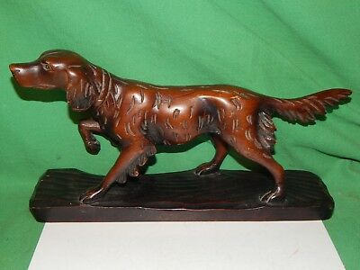 Vintage Hand Carved Wooden Dog Irish Setter - German Long Haired Pointer