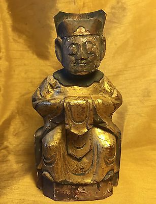 "Antique 6.75"" Chinese Wooden Temple Carving Figure: Holds Paper Prayers in Back"