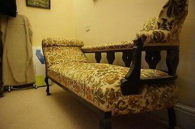 Antique ? Victorian chaise longue,reupholstered in Dralon 1970