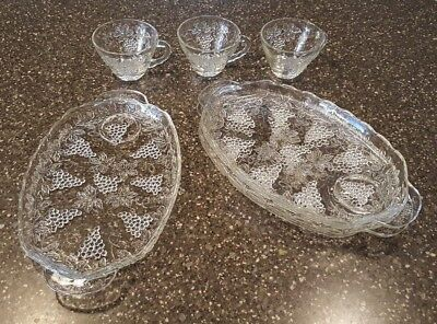 Vintage Anchor Hocking Clear Glass Grape Pattern Snack Set of 3 Plates & Cups