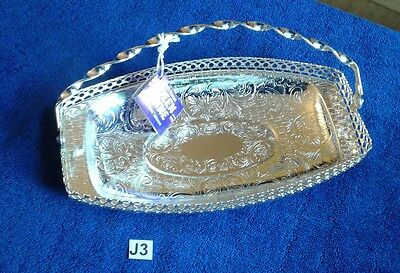"VINTAGE SILVER PLATE QUEEN ANNE SANDWICH TRAY WITH HANDLE 10"" x 5"""