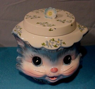 MISS PRISS Kitty Cat by Lefton Japan Covered Cookie Jar Great Shape!