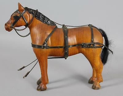 Antique Early 20thC Folk Art Carved Wood Workhorse Horse Leather Tack Harness