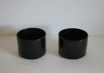 "1970 Vintage PAIR Mid Century Modern 8"" Flower Pot Planter Architectural Pottery"