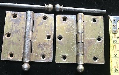 Antique 3-1/2 X 3-1/2 Door Hinge w Removable Pins Cannon ball finial Top Stanly