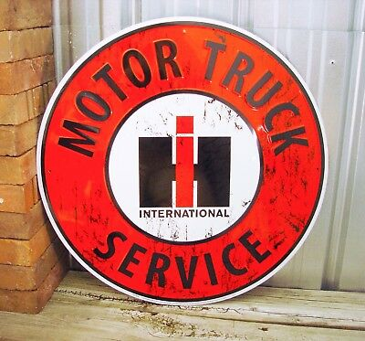"International Harvester IH Service Large 24"" Metal Tin Sign Vintage Garage Truck"