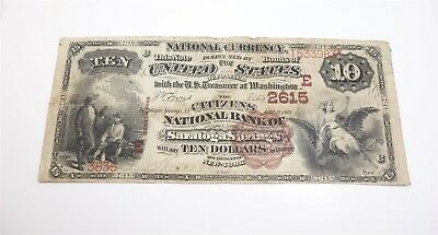 Series 1882 Large Size $10 Bank Note Citizens National Bank of Saratoga Springs