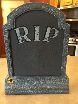 Halloween Plastic and Mesh Spooky Musical Tombstone Gravestone 15.5 inches RIP