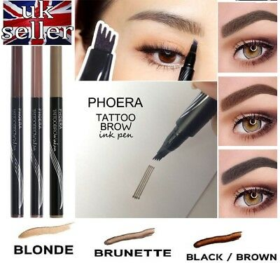 PHOERA Tattoo Eyebrow Pen Artist Eye Makeup Fine Sketch Smudge-proof UK STOCK