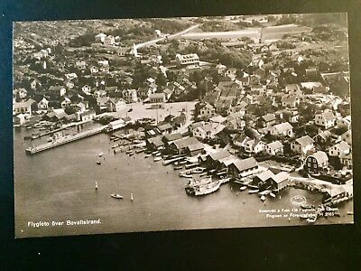 Real Photo Postcard Sweden Bovallstrand Flygfoto c 1950