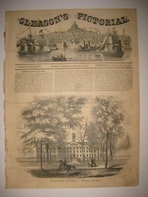 Rare Early Vintage Antique 1853 Princeton University New Jersey Print Dated Fine