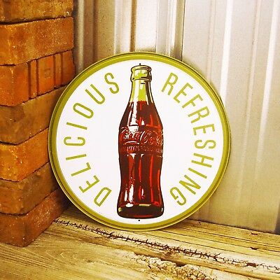 """Drink Coca-Cola Coke Bottle Green Delicious Refreshing Round 12"""" Metal Tin Sign"""