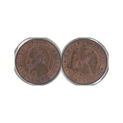 FRANCE 5 CENTIMES NAPOLEON III 1855 A ancre TTB