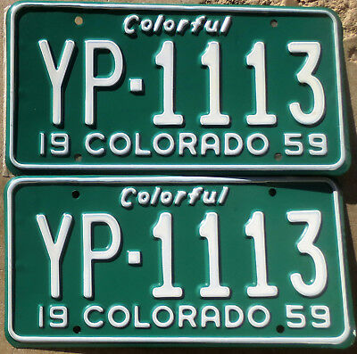 1959 Colorado License Plate Number Tag PAIR Plates