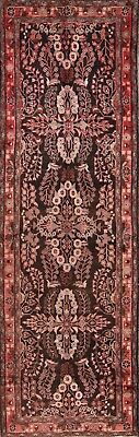 Antique Floral Black Runner 4x11 Lilian Hamedan Persian Oriental Rug 11'1 x 3' 7