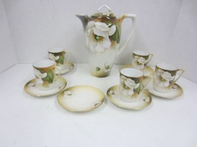 Antique Handpainted RS Germany TEA SET White Flowers Teapot, Cups & Saucers