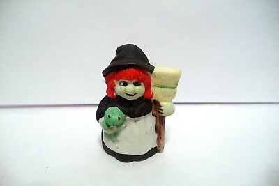 Thimble Bisque Enesco '88 Figural Of An Orange Haired Witch W/her Broom & Frog