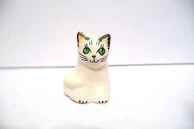 Thimble Handcrafted & Painted Merryfield Pottery Figural Of White W/green Eyes