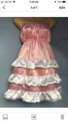 pink satin dress adult baby fancy dress sissy french maid cosplay chest 36-52