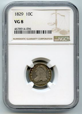 1829 Capped Bust Silver Dime (VG 8) NGC Certified.