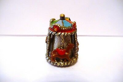 Thimble Handpainted Pewter Enesco A Carousel W/mountain Lions? W/colorful Saddle