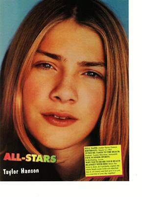 Taylor Hanson teen magazine pinup clipping All-Stars major close up MMMBOP 90's