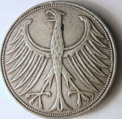 1951 F GERMANY 5 MARKS - High VALUE DATE SILVER Coin - SCARCE - Lot #D14