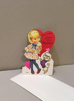 Vtg Valentine Card 70s Pete Hawley Girl Poodle Dog Ice Cream UNUSED w/ Envelope