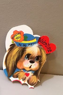 Vtg Valentine Card 70's Mod Big Eyes Puppy Dog Begging You Unused