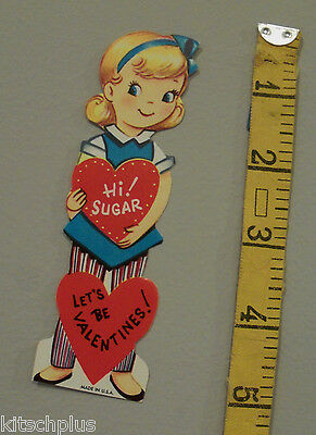 Vtg Valentine Card 60's Pretty Girl Hi Sugar so Sweet UNUSED