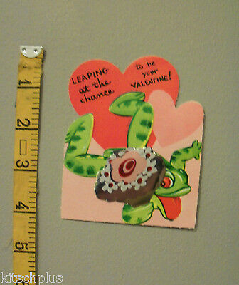 Vtg Valentine Card Cute Little Green Forg Leaping at Chance Foil Bouquet UNUSED