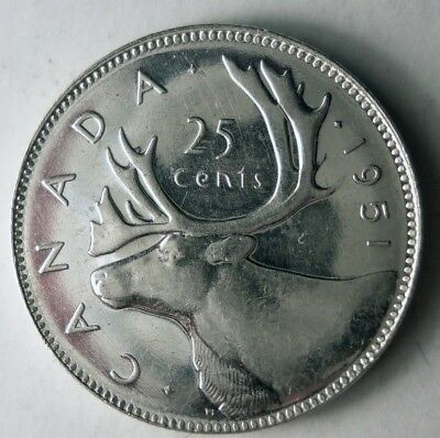 1951 CANADA 25 CENTS - PROOF - High Gloss Silver- Low Mintage Coin - Lot #D14