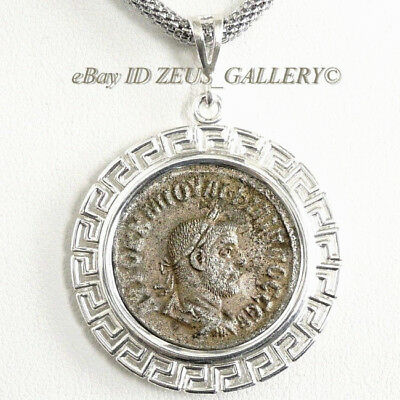 Philip I Large Ancient Roman Coin Silver Tetradrachm in Sterling Bezel Pendant