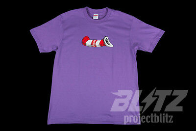 55368e72cefd Supreme Cat In The Hat Tee Purple S M L Xl Fw18 T-Shirt Box Logo Black
