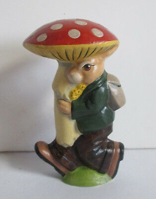 Vaillancourt Folk Art Rabbit--Bunny Carrying Mushroom Limited Ed Numbered