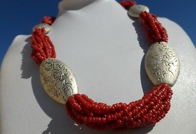 GORGEOUS Vintage Multi-Strand CORAL Etched Sliverplate disc NECKLACE Adjustable