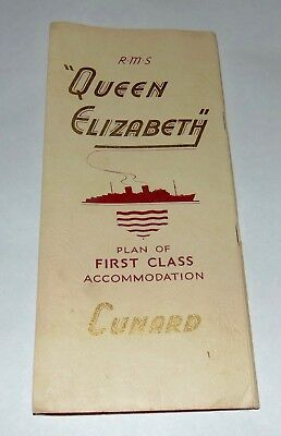1950'S R.M.S. QUEEN ELIZABETH First Class Accommodation CUNARD Fold Out Plan