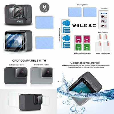 Wiilkac Screen Protector For Gopro Hero 7 WHITE/Gopro SILVER 4 PCS Ultra Clear 9