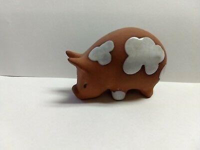 Vintage Czechoslovakian Pottery Pig Terracotta and White Great Shape