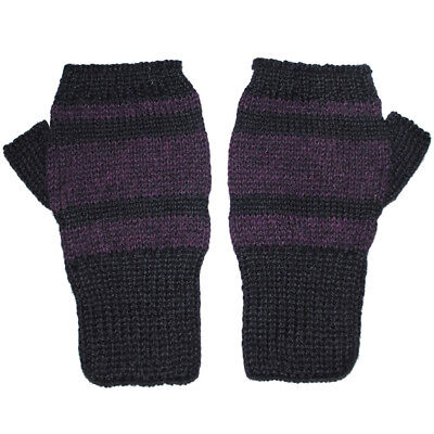100% Alpaca Knit Fingerless Mittens Black Purple Small ~ Women Men Accessories