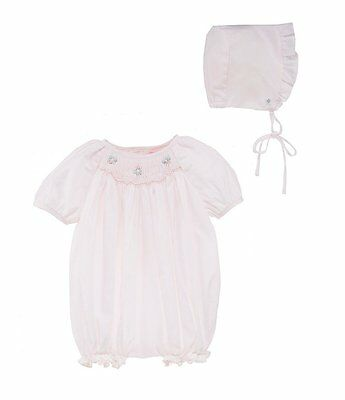 531677fcd NWT Petit Ami Pink Smocked Romper Bubble Bonnet Preemie Baby Girls Boutique