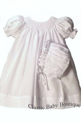 72a218afa NWT Petit Ami White Smocked Daygown 2pc Newborn Baptism Christening Dress  Girls