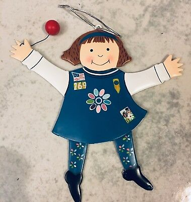 Girl Scout Christmas Ornament, Metal Doll, Daisy Uniform with Balloon
