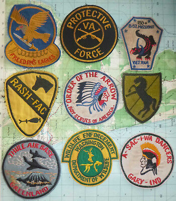 CHRISTMAS SALE - Lot # 17 - PATCHES x 9 - 1970's US ARMY - SCOUT - Vietnam War