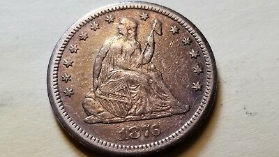 1876 Cc 25C Silver Seated Liberty Quarter
